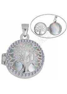 Gyógyszertartó nyitható medál életfa díszítéssel, ezüst ékszer