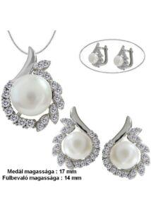 Gyöngyös fülbevaló medál nyaklánc ékszerszett, ezüst ékszer