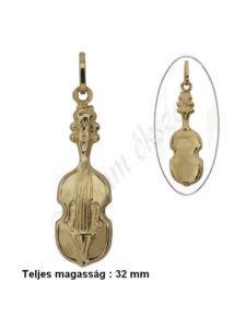 Hegedű, brácsa medál, arany ékszer