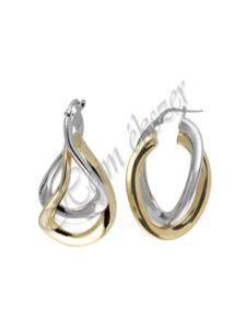 Hullámos karika fülbevaló, arany fazonú ezüst fülbevaló