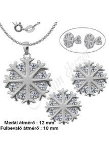 Hópehely - hópihe fülbevaló, medál, lánc garnitúra, ezüst ékszer