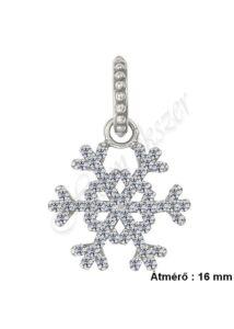 Hópehely csillogó hópihe medál, ezüst ékszer