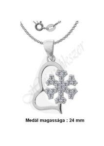 Hópehely - szív medál, nyaklánc ékszergarnitúra, ezüst ékszer több hosszúságban