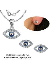 Hórusz szem fülbevaló, medál, nyaklánc ékszerszett, ezüst ékszer