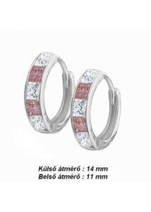 Rózsaszín fehér köves karika fülbevaló, ezüst ékszer ( nem bébi )