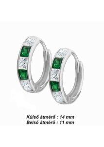 Zöld fehér köves karika fülbevaló, ezüst ékszer ( nem bébi )