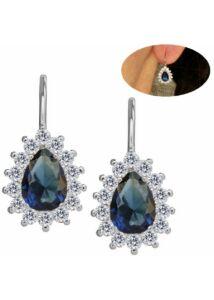Kék csepp köves erős záródású fülbevaló, ezüst ékszer
