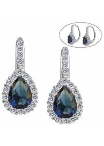 Kék csepp köves patent záras fülbevaló, ezüst ékszer