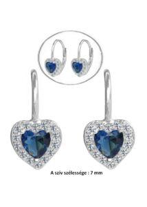 Kék köves szíves gyermek fülbevaló, ezüst ékszer erős zárral