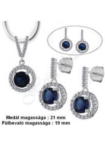 Exclusiv kék zafír fülbevaló, medál, nyaklánc,  ezüst ékszer több hosszúságban