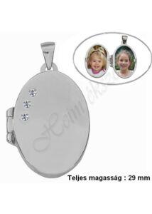 Fényképtartó ovális nyitható medál, ezüst ékszer