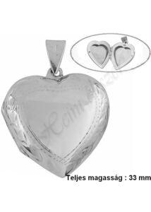 Szív fényképtartó nyitható medál, egyedi nagyobb méretű ezüst ékszer