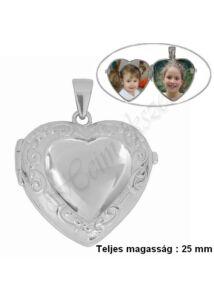 Képtartó, nyitható szív medál, fényképtartó ezüst ékszer
