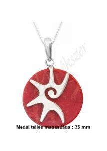 Korall medál nyaklánccal, ezüst ékszer több hosszúságban