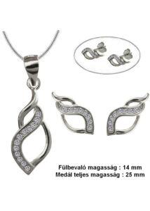 Köves fülbevaló, medál, nyaklánc ékszergarnitúra, ezüst ékszer több hosszúságban