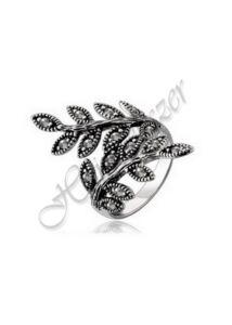Levél mintás antikolt gyűrű, ezüst ékszer minden méretben