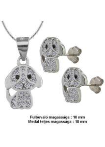 Kutya fülbevaló medál nyaklánc ékszergarnitúra, ezüst ékszer