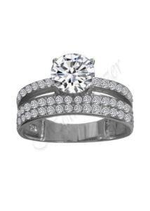 Több soros köves gyűrű, ezüst ékszer