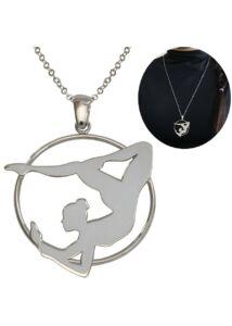 Légtornász, légakrobatika, aerial hoop medál nyaklánccal, ezüst ékszer