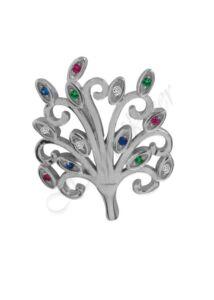 Életfa medál színes kövekkel, ezüst ékszer