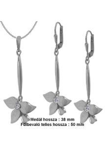 Lógós virágos fülbevaló medál nyaklánc ékszergarnitúra, ezüst ékszer.