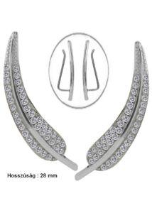 Madártoll mintájú fülékszer, ezüst ékszer
