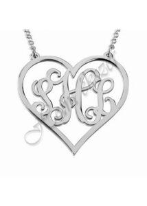 Monogrammos nyaklánc, ezüst ékszer választható monogrammal