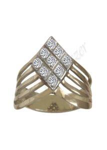 Sárga - fehér arany köves gyűrű, arany ékszer