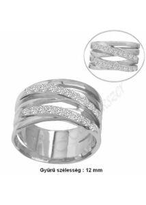 Mutatós, széles csillogó gyűrű, ezüst ékszer minden méretben
