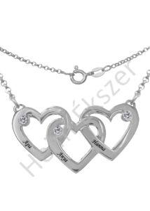 Neves összefonódó szív medál nyaklánccal, ezüst ékszer.
