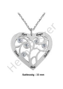 Neves szív medál nyaklánccal választható nevekkel, ezüst ékszer.