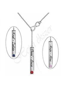 Neves végtelen jeles Infinity nyaklánc, ezüst ékszer ( választható nevekkel, több hosszúságban )