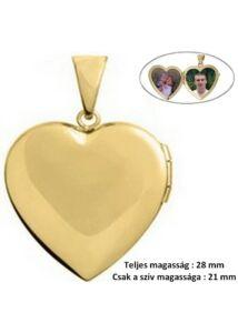 Nyitható fényképtartó szív medál, egyedi arany ékszer