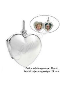 Nyitható, fényképtartós szív alakú medál, ezüst ékszer