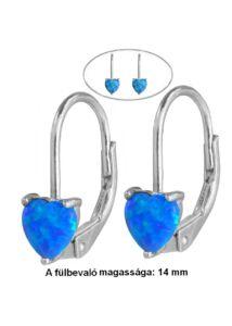 Opál köves szív alakú fülbevaló, ezüst ékszer