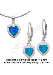 Opál köves szív ékszergarnitúra, ezüst ékszer