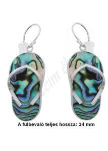 Pávakagyló Paua Abalone papucs alakú fülbevaló, ezüst ékszer