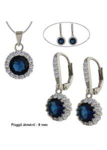 Pici zafir kék köves fülbevaló medál nyaklánc szett, ezüst ékszer.