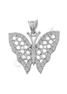 Pillangó medál áttört mintával, ezüst ékszer
