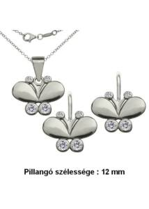 Pillangó lepke ékszerszett, ezüst szimbólum ékszer