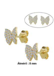 Pillangó fülbevaló, arany ékszer