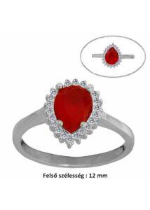 Piros csepp köves gyűrű, ezüst ékszer.
