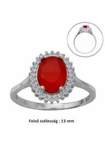Piros ovál köves gyűrű, ezüst ékszer