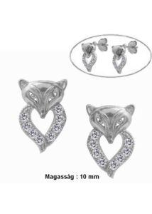 Róka fülbevaló, ezüst szimbólum ékszer