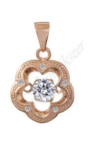 Rose arany színű virág medál, ezüst ékszer