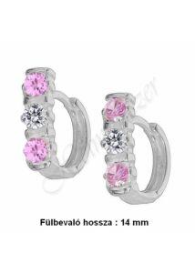 Rózsaszín-fehér köves U alakú körben záródó fülbevaló, ezüst ékszer