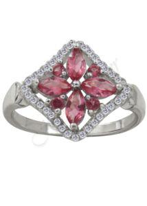 Divatos rózsaszín köves gyűrű, ezüst ékszer
