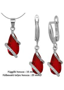 Rubin köves fülbevaló, medál, nyaklánc ékszergarnitúra, ezüst ékszer