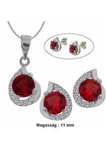 Rubin piros köves fülbevaló, medál, nyaklánc ékszer szett, ezüst ékszer több hosszúságban