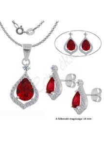 Ezüst fülbevaló, medál és nyaklánc, vörös rubin köves ékszergarnitúra, ezüst ékszer.